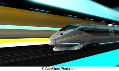 vitesse, élevé, animation, rail