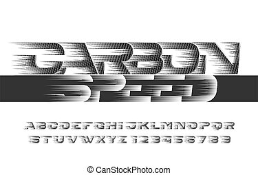 vitesse, carbone, font., alphabet
