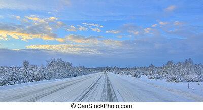 vitesse, conduire, hight, coucher soleil, neigeux, hiver, crépuscule, brouillé, autoroute