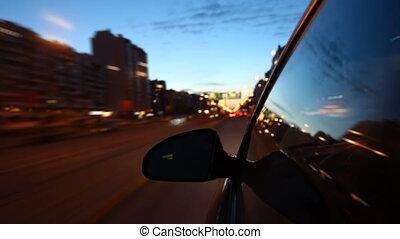 vitesse, conduire, nuit