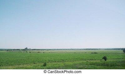 vitesse, forest., vue, paysages, train, collines, élevé, beau, ukraine