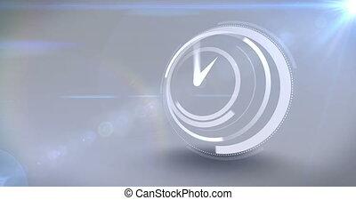 vitesse, horloge, blanc, coutil