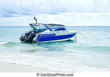 vitesse, island., bateau, samed