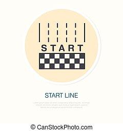 vitesse, linéaire, voiture, signe., automobile, début, vecteur, illustration, ligne, courses, icon., concurrence