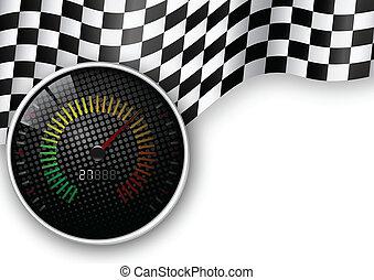 vitesse, mètre, drapeau, checkered