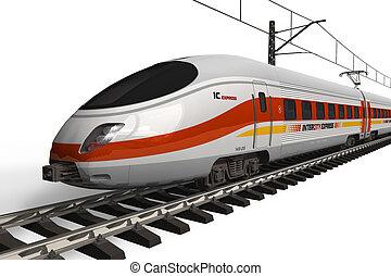 vitesse, moderne, train, élevé
