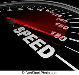 vitesse, mot, sur, compteur vitesse, gagner, course, être,...
