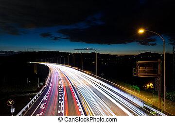 vitesse, trafic, autoroute, nuit