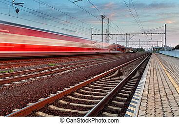 vitesse, train, dans, station
