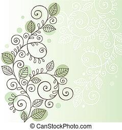 viti, foglie, scarabocchiare, disegno