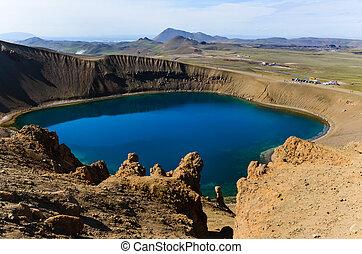 viti, krater, in, krafla, vulkanisch, bereich, island