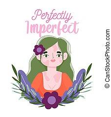 vitiligo, portrait, perfectly, fleurs, imparfait, femme, ...