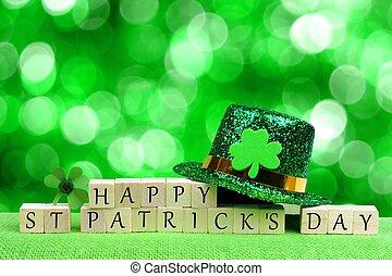 vitklöver, kvarter, trä, över, st, blinkande, patricks, grön fond, pyssling hatt, dag, lycklig