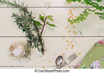 vitlök, och, örtar, på, a, grädde, bakgrund