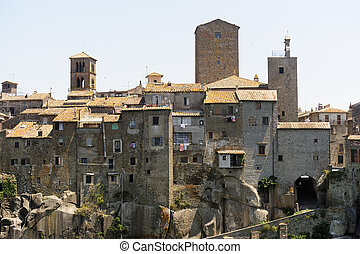 Vitorchiano (Viterbo, Lazio, Italy), old typical town: panoramic view