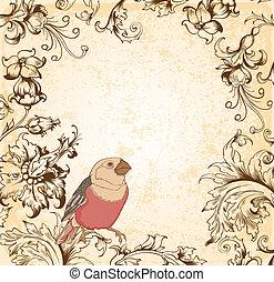 vitoriano, floral, fundo, com, pássaro