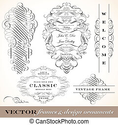 vitoriano, vetorial, ornamento, set., fantasia