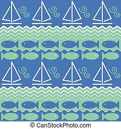 vitorlás hajó, és, fish, motívum