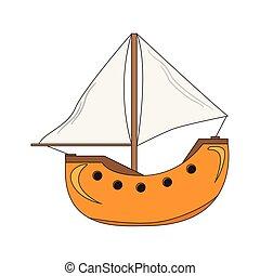 vitorlás hajó, elszigetelt, karikatúra