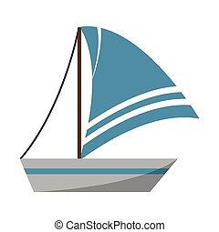 vitorlás hajó, jelkép, elszigetelt, csónakázik