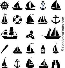 vitorlás hajó, jelkép, set.