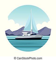 vitorlás hajó, karikatúra, táj