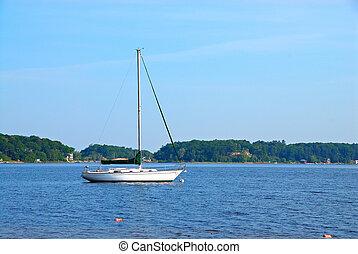 vitorlás hajó, michigan, fehér, tó, usa