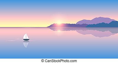 vitorlás hajó, napkelte, elhagyott, csendes, tenger