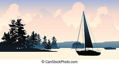 vitorlás hajó, tó