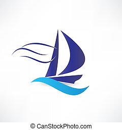vitorlás hajó, tenger, ikon