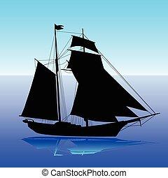 vitorlás hajó, vektor, árnykép