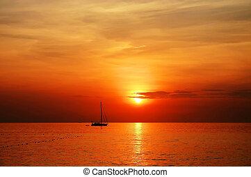 vitorláshajó, napnyugta, -ban, kata, tengerpart, phuket