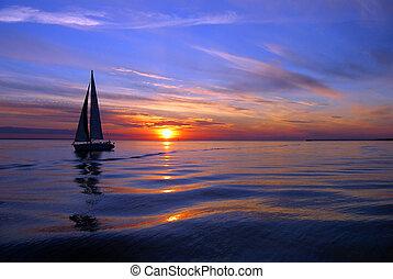 vitorlázás, egy, tenger, közül, szín
