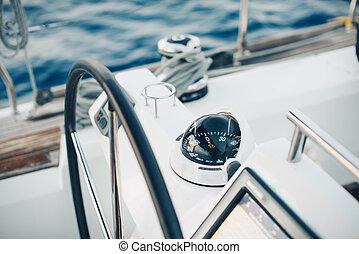 vitorlázás, ellenőrzés, jacht, pilótafülke, implement., ...