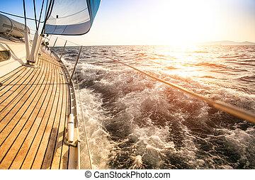 vitorlázás, fordíts, a, sunrise., fényűzés, yacht.