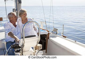 vitorlázás, párosít, vitorlázik, jacht, idősebb ember, vagy, csónakázik, boldog