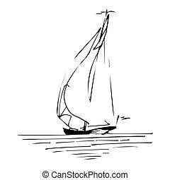 vitorlázás, style., sketched, hajó, kéz, téma, yacht., tinta, egyenes, óceán, tengeri, vagy, csónakázik, design.