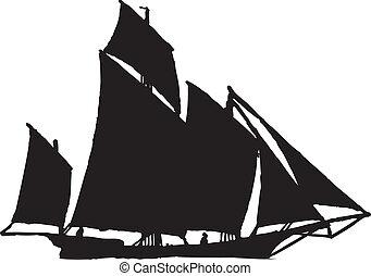 vitorlázik, árnykép, csónakázik