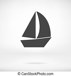 vitorlázik, elszigetelt, csónakázik, ikon