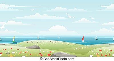 vitorlázik, tenger, táj