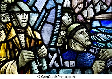 Vitrage window - Inside window painting of British soldiers...