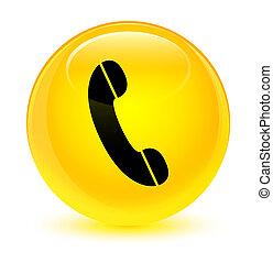 vitreux, bouton, jaune, téléphone, rond, icône