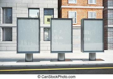 vitreux, panneaux affichage, ensoleillé, haut, jour, rue, vide, railler