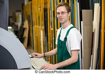 vitrier, machine, découpage, atelier, opération, artisan