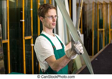 vitrier, maniement, atelier, morceau, verre