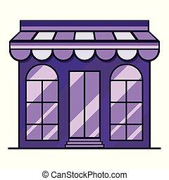 vitrina, ilustración, púrpura, edificio., vector, icono, tienda