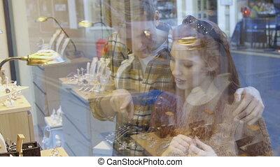 vitrine, achats, bijoux