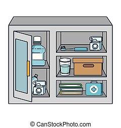 vitrine, met, dentale hygiëne, producten