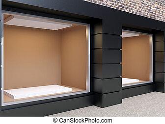 vitrine, store., straat, 3d, vertolking