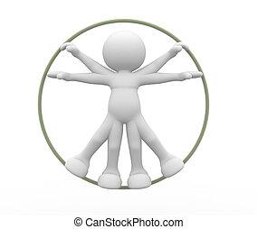 Vitruvian - 3d people - human character, person, vitruvian ...